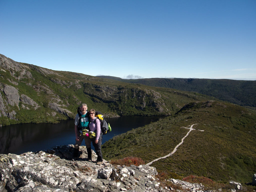 Great views from a spot just before reaching Marion's Lookout. Greg and Jean with Crater Lake in the background. You can clearly see the track behind us with some other walkers that look the size of ants.
